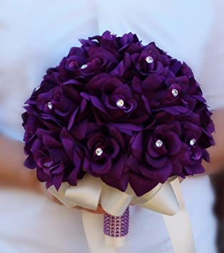 Amazon.com: 2 Wedding Bouquets -Bridal Flower Girl / Toss - Purple ...