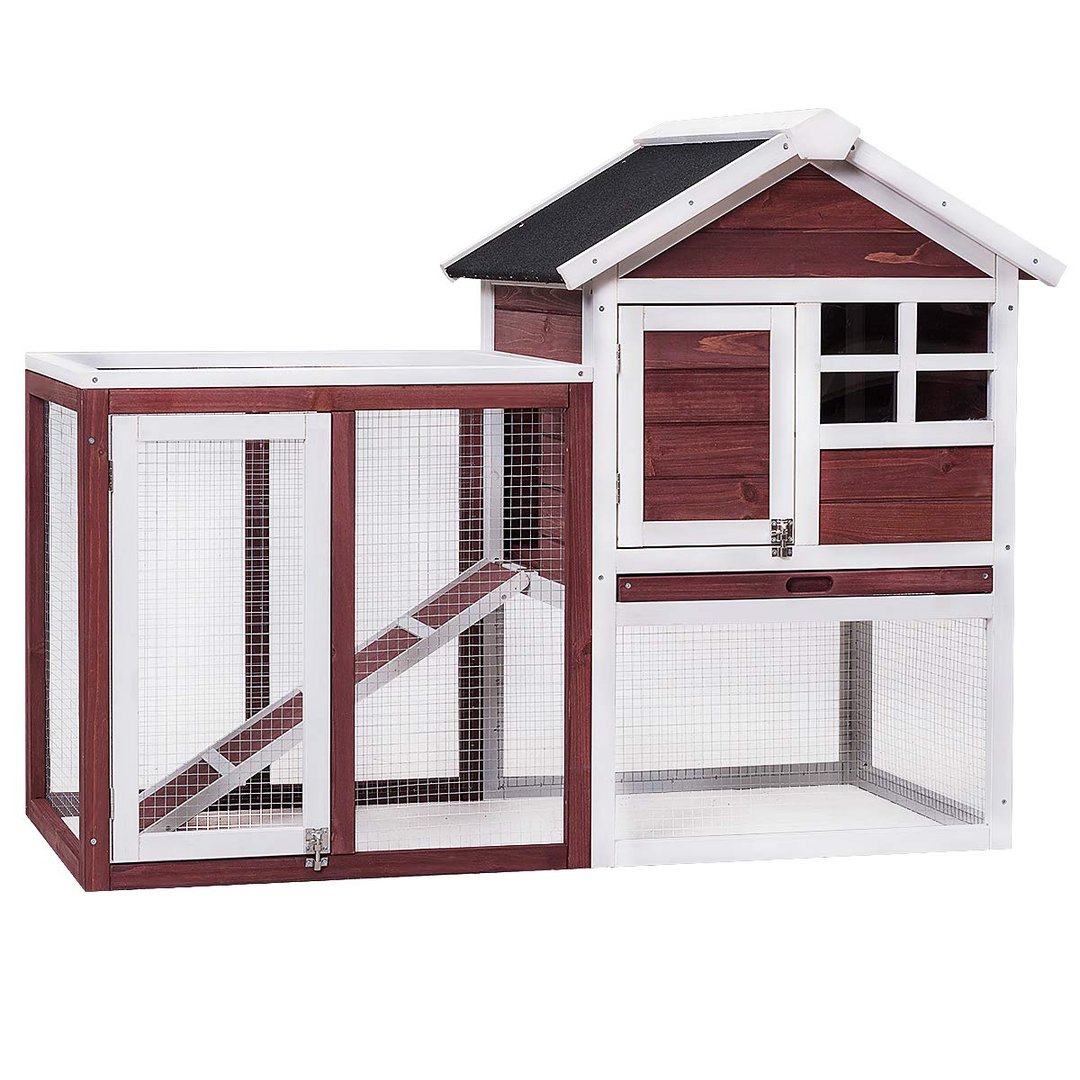 Tangkula Large Chicken Coop Wooden Rabbit Hutch Outdoor Garden Backyard Hen House Wood Pet House Poultry Cage with Outdoor Run (Red-Brown) by Tangkula