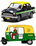 Playking Centy Combo of Auto & Ambassador Taxi - Pull Back Action, Color May Vary