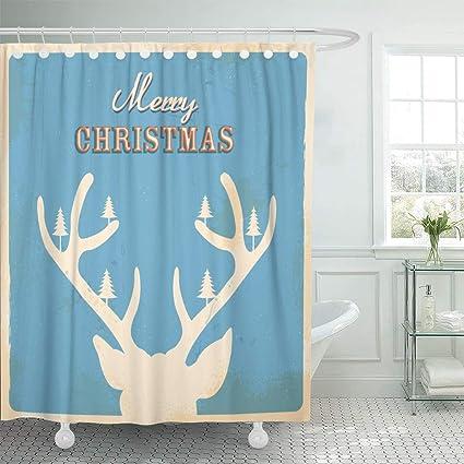 Emvency Waterproof Fabric Shower Curtain Hooks Antlers Of Christmas Reindeer In Retro Holiday Deer Vintage Animal