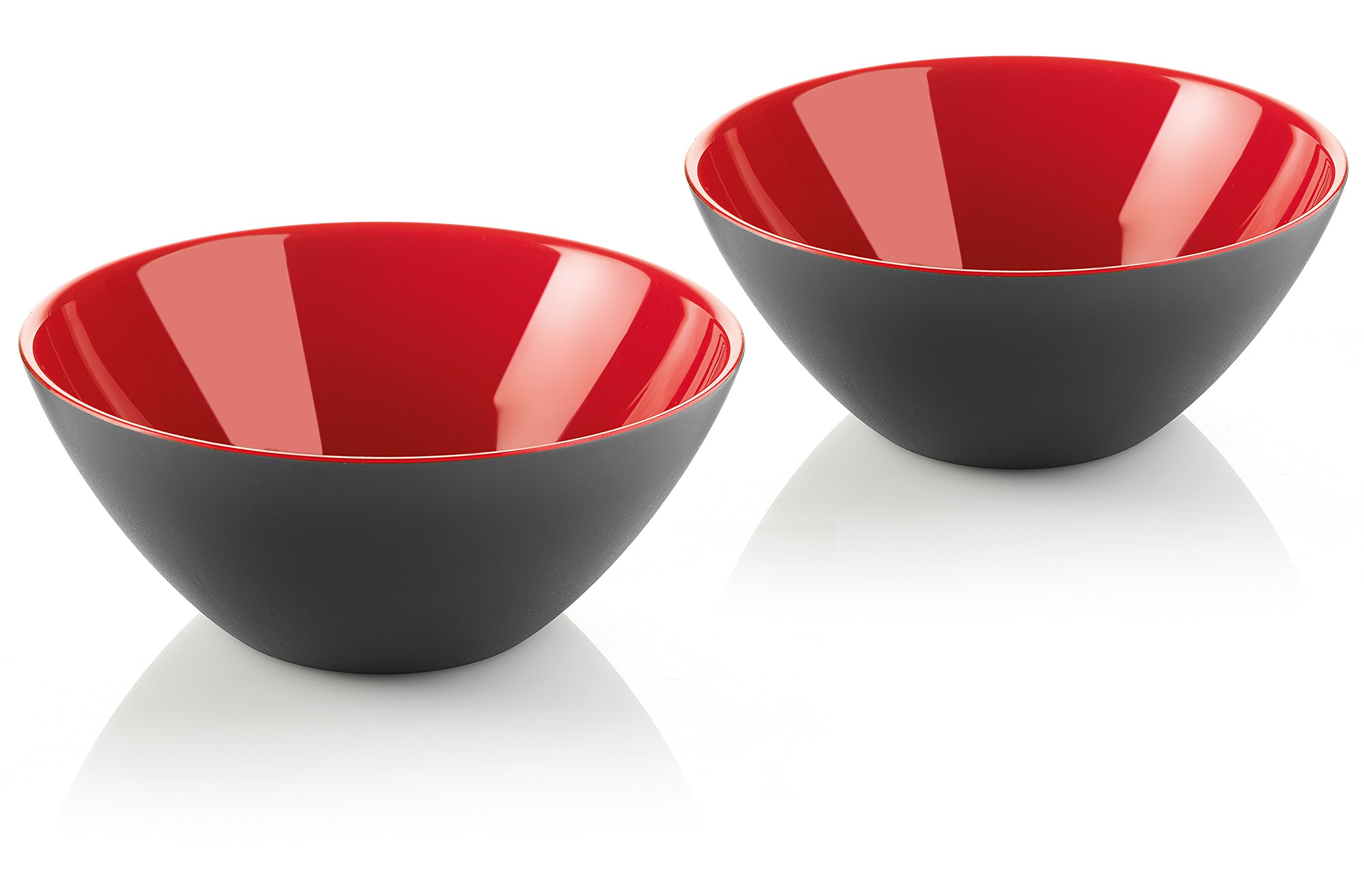 Guzzini My Fusion Small Bowls, Set of 2, BPA-Free Shatter-Resistant Acrylic, 4-3/4'' Diameter, Ideal for Desserts, Soups and Sides, Black, Red