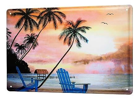 Cartel Letrero de Chapa XXL Imagen Estaño Sillas de playa de ...
