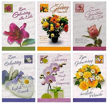 50 Geburtstagskarten Blumen Klappkarten Mit 50 Umschlagen Grusskarten