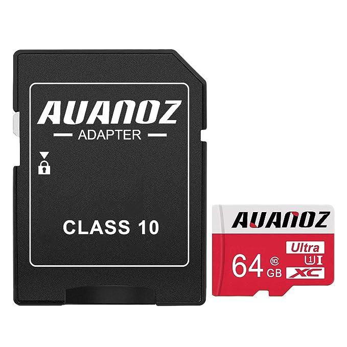 Auanoz Tarjeta De Memoria TF Ultra Class 10 UHS-I Tarjeta De Memoria De Alta Velocidad para Teléfono,Tableta y PC - con Adaptador. (Rojo-64gb)