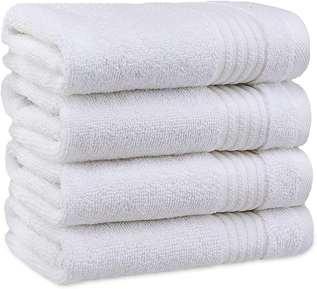 Luxury Turkish Cotton Washcloths for Easy Care, Extra Soft & Absorbent, Fingertip Towels, 4 Pack Washcloth Set by United Home Textile, Snow White