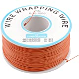 uxcell PCB Solder Orange Flexible 0.5mm Outside Dia 30AWG Wire Wrapping Wrap 1000Ft