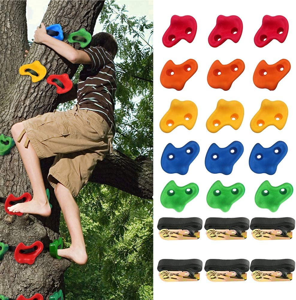15 Ninja Tree Rock Climbing Holds for Kids and Adult Climber, with 6 Ratchet Straps, Climbing Rocks Rope Playset Set for Playground Equipment, Indoor and Outdoor Ninja Warrior Obstacle Course Training