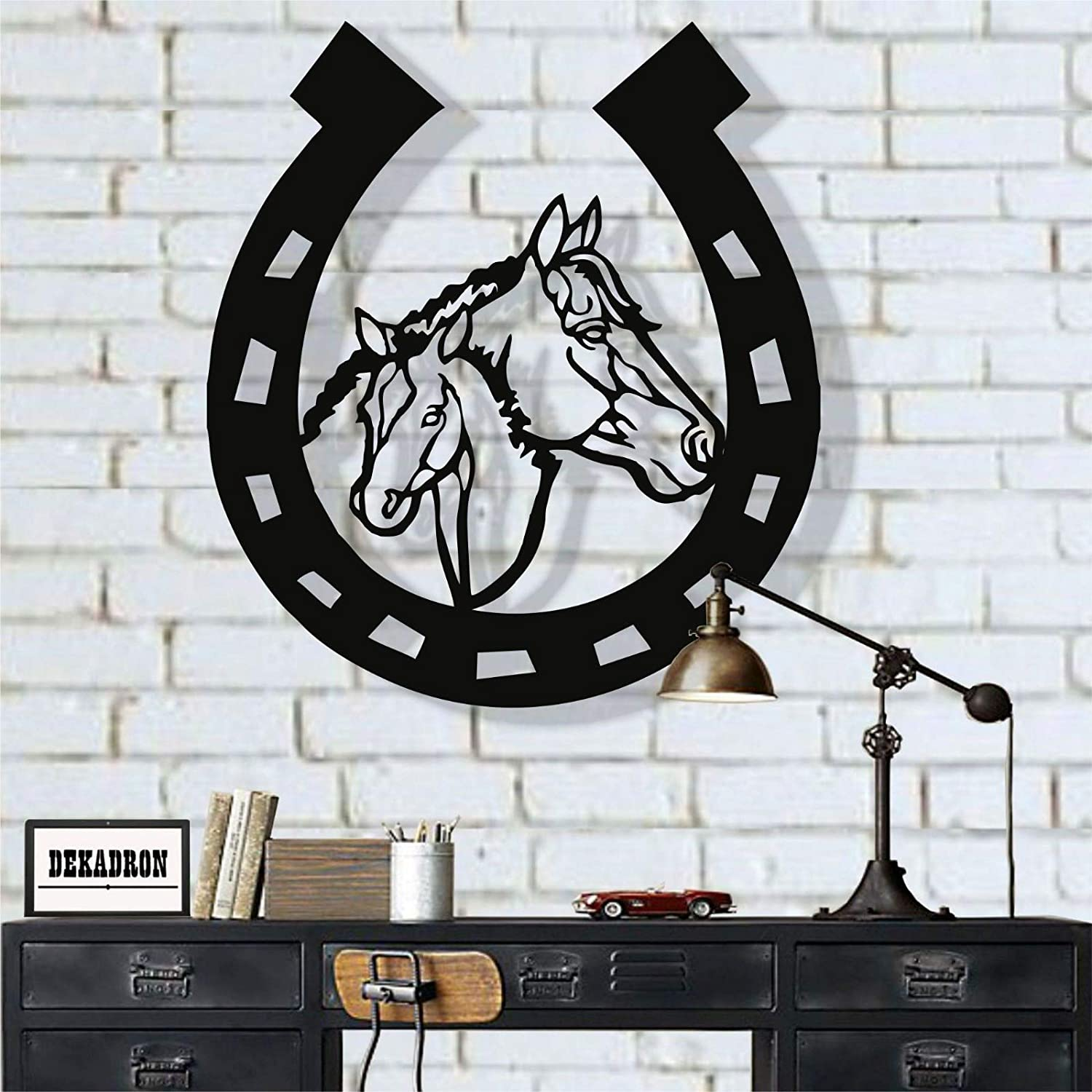 "Metal Wall Art, Metal Horse Head Horseshoe Art, Metal Wall Decor, Cowboy art, Farmhouse Art, Cowboy Decor, Horseshoe Sign (15""W x 18""H / 38x45 cm)"