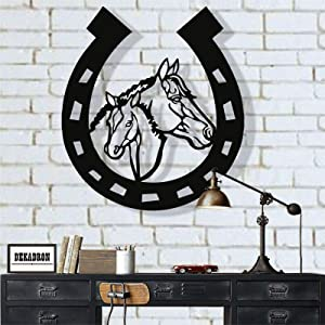 "Metal Wall Art, Metal Horse Head Horseshoe Art, Metal Wall Decor, Cowboy art, Farmhouse Art, Cowboy Decor, Horseshoe Sign (25""W x 30""H / 63x75 cm)"