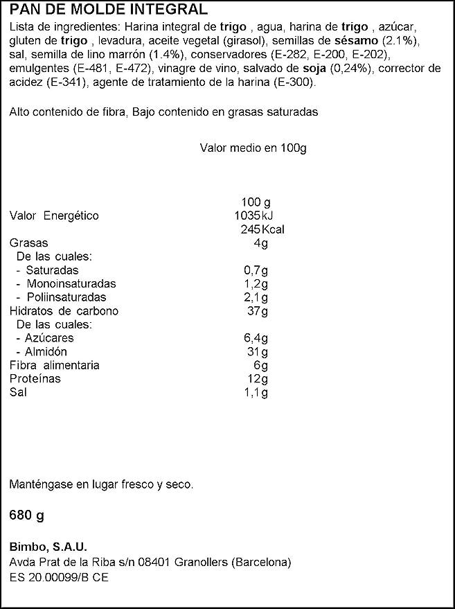 Oroweat Semillas de Sésamo y Lino, pan multicereales con ...