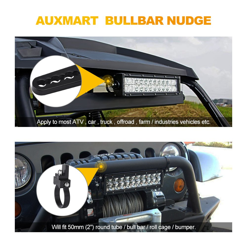 AUXMART Tube Clamps Mounting Brackets for LED Light bar Work Lights Fog Lights Off Road Lights Fit 1.75 Bull Bar 1 Pair