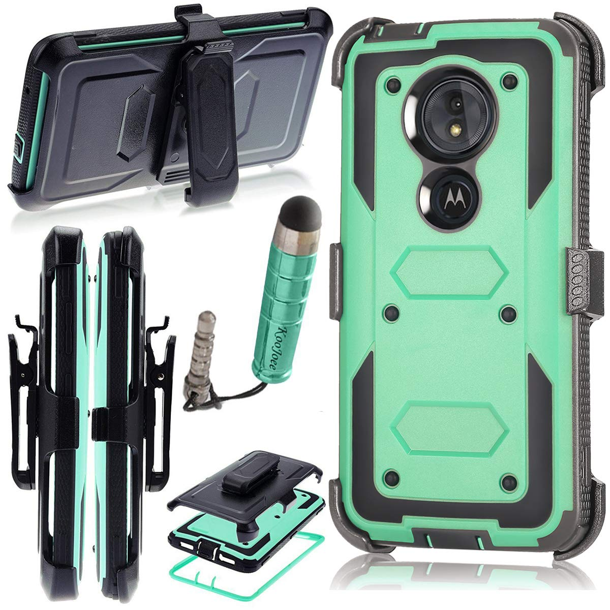 KooJoee Armor Rugged Moto G6 Play Case, Shockproof Heavy Duty [Kickstand] [Belt Swivel Clip] Full-Body Protection Holster Carrying Case for Motorola Moto G6 Play (Blue)