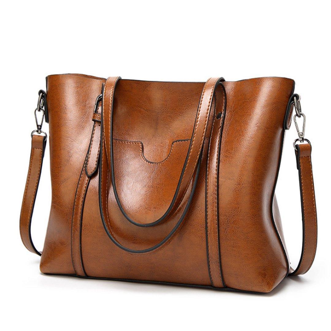 New Women's Vintage Fine Fibre Genuine Leather Bag Tote Shoulder Bag Handbag Model Ciara Brown