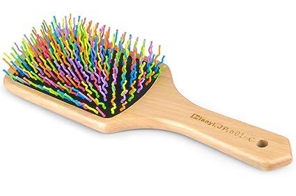 Dianyi Cepillo de pelo bambu pin de Colorido Púas de Nailon neumático requeta