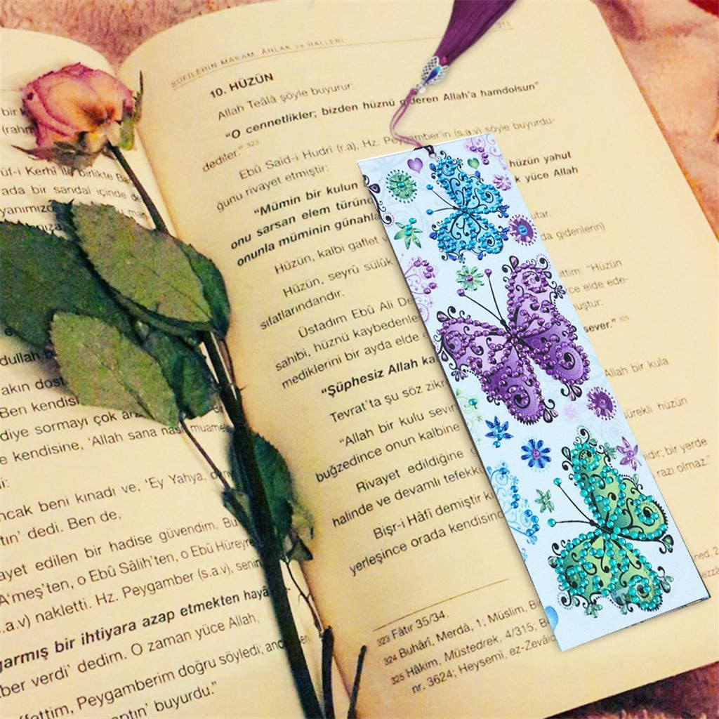 Rose Thanksgiving Birthday Umbresen Leather Bookmark DIY 5D Special Shaped Diamond Painting by Number Kits,Beaded Tassel Book Marks Art Craft Mosaic Making Gifts for Christmas New Year