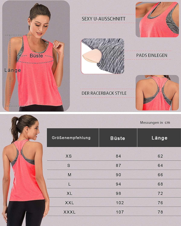FAFAIR Sport Top Damen Fitness Mit Bras Tanktop BHS Lauftop Wander Oberteil Trainings Top Yoga Atmungsaktives Freizeitkleidung