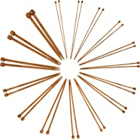 """Bamboo Ultra Strong Knitting Needles Set 9"""" Single Point - 15 Sizes 2mm-10mm - Carbonized Brown - Comes w/Stitch Markers…"""