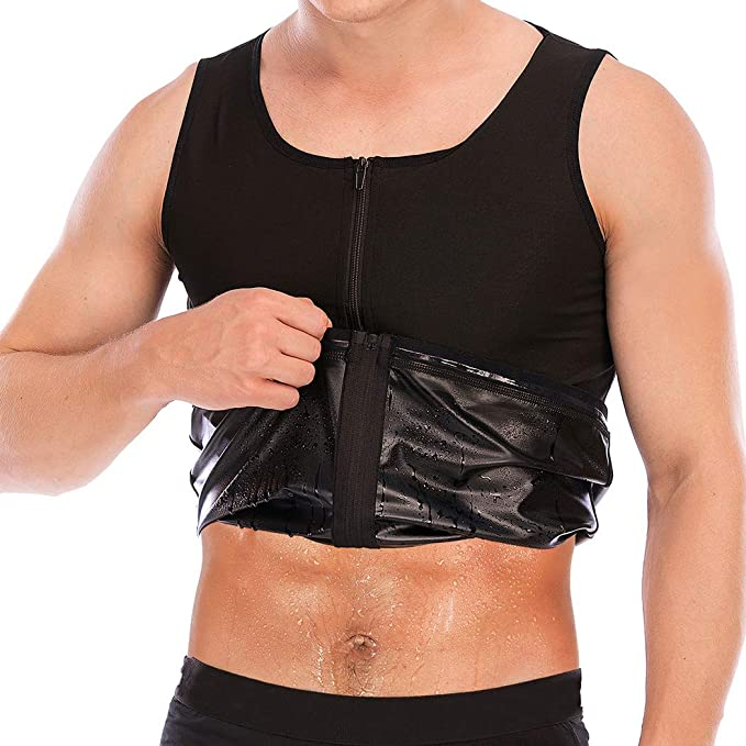 FLORATA Men Waist Trainer Vest Hot Sweat Sauna Suit Corset Body Shaper Zipper Tank Top Workout Shirt