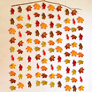 10Pcs Fall Maple Leaf Garland, Artificial Autumn Maple Leaves Plants Vine Hanging Garland for Home Garden Kitchen Office Wedding Wall Doorway Party Backdrop Decoration Thanksgiving Decor 6.6ft Long