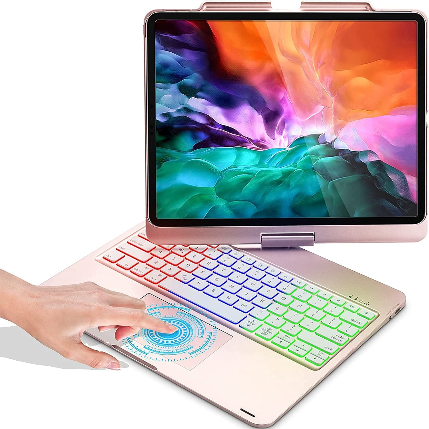 Touchpad Keyboard Case for iPad Pro 12.9 2020 & 2018 (NOT for 5th Gen 2021), Compatible with iPad 12.9-in 3rd 4th Generation, Wireless Apple Pencil Charging, Rainbow Backlits, 360 Rotation - Rose gold