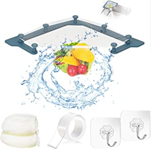 Sink Drain Strainer For Kitchen, Triangle Sink Strainer With 100 PCS Filter Bags, Drain Stopper Filter Leftovers Garbage Storage Holder With Seamless Hooks, Nano Glue, Strong Compatibility LIBERJOG