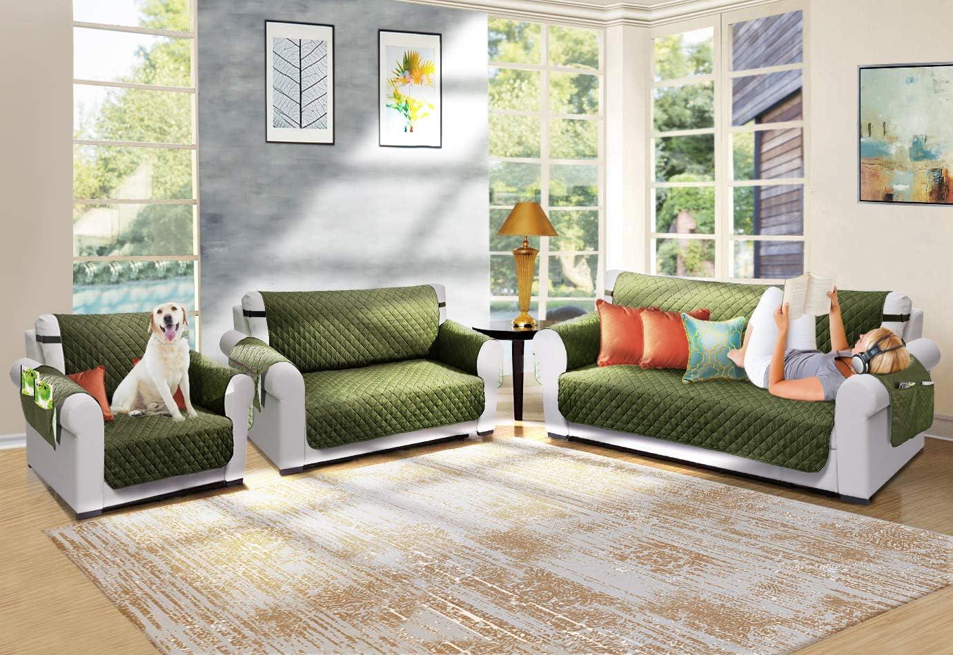 Furniture Protector Loveseat Cover for Dogs Pets Loveseat Slipcover with 2 Strap//Pocket Loveseat:Bottle Green//Beige Vailge Reversible Loveseat Cover Loveseat Covers for Living Room