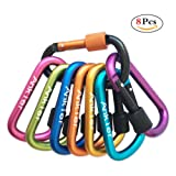 Locking Carabiner, Ankier 8-colors Premium Aluminum Alloy D-ring Carabiner Clips for Outdoor, Camping, Hiking, Traveling, Fishing, Backpack (8 pcs)