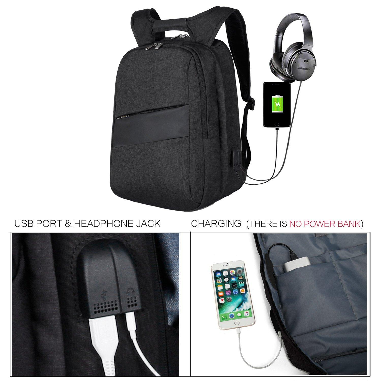 zhi wei Mochila de Ordenador,Mochilas para Portátil de 17 Pulgadas con Puerto de Carga USB,Backpack para MacBook,Negocios, Colegio, Viajes, Hombre y Mujere, ...