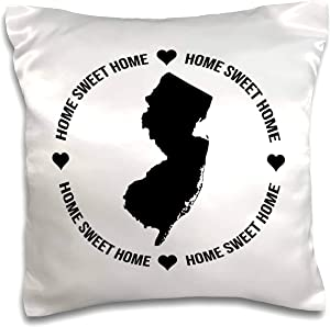 3dRose Stamp City - typography - New Jersey inside a circle of Home Sweet Home and hearts on white. - 16x16 inch Pillow Case (pc_324149_1)