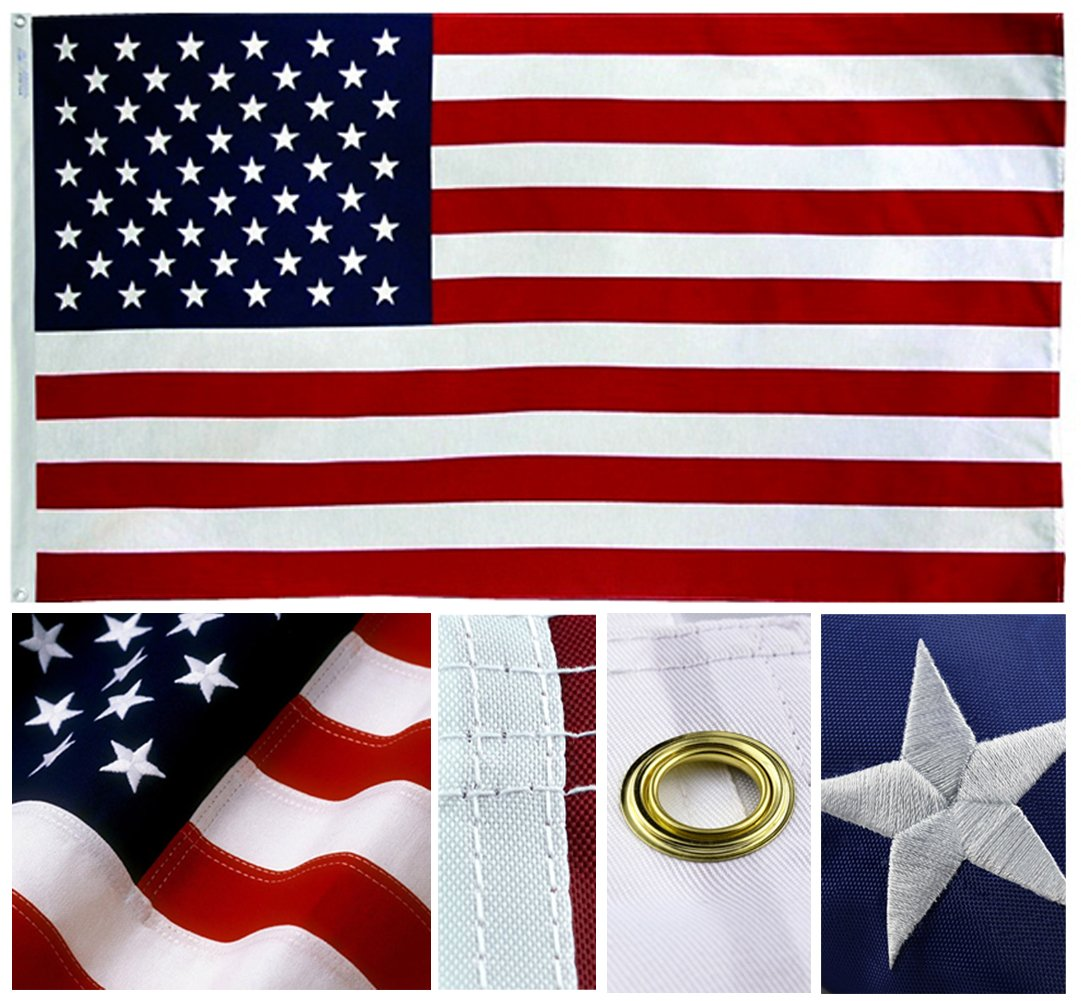 American Flag 12x18 ft. Sewn Stripes, Embroidered Stars and Brass Grommets - Premium Quality Oxford Nylon US Flag for Indoors / Outdoor by Shop72