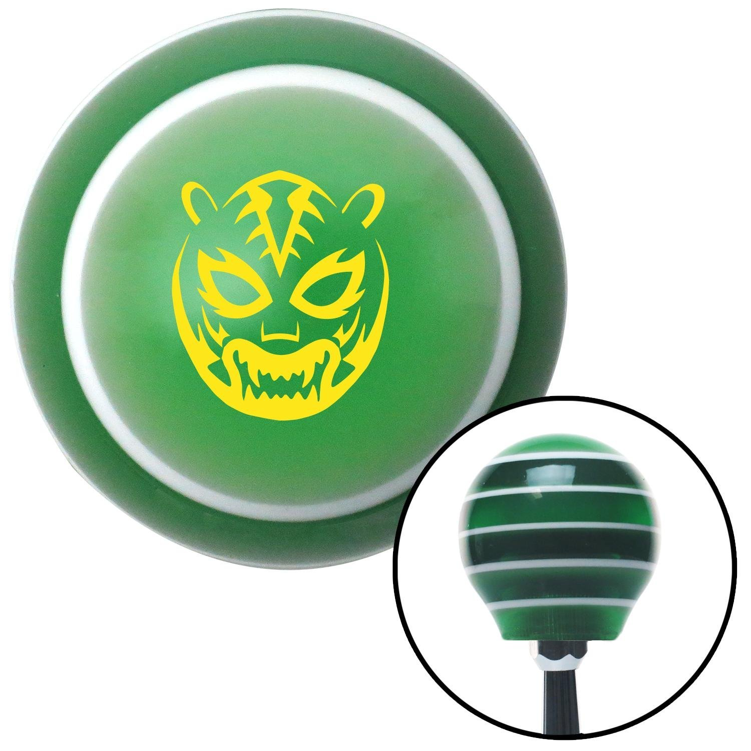 Yellow Lucha Libre Mask American Shifter 126075 Green Stripe Shift Knob with M16 x 1.5 Insert