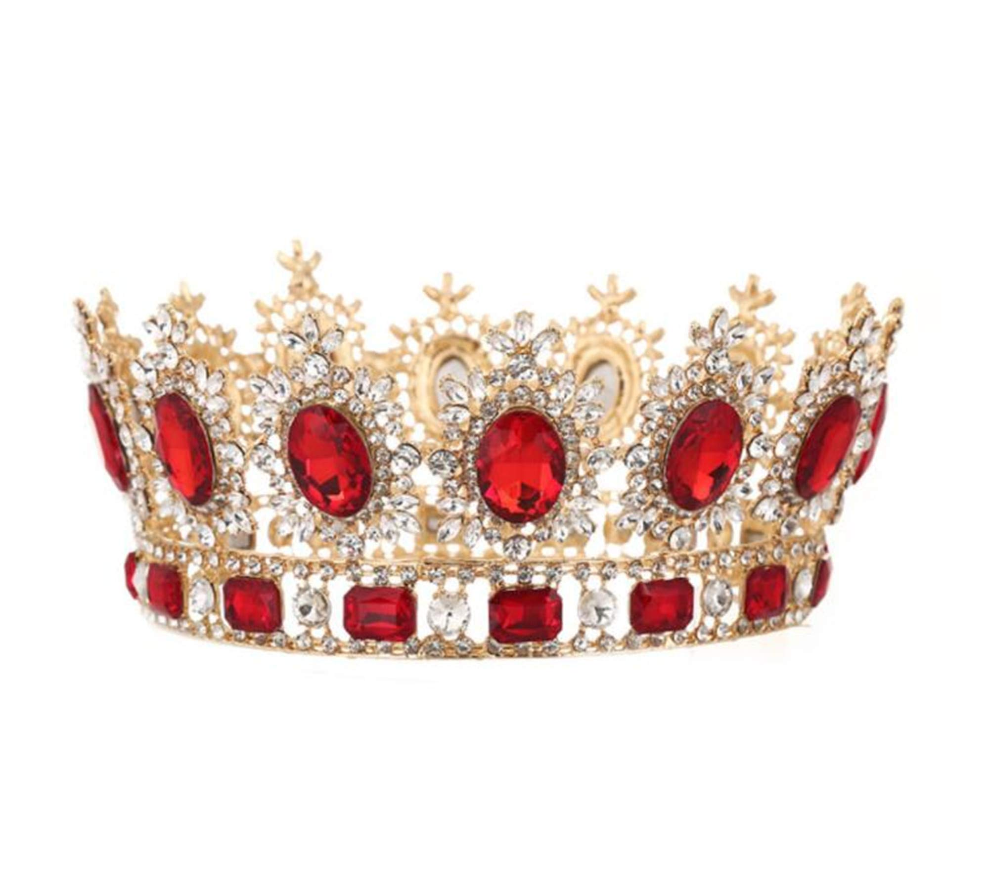 WIIPU Large Gemstone Crystal King Crown Wedding Prom Party Pageant,6.7'' Diameter(A1365) (Red)