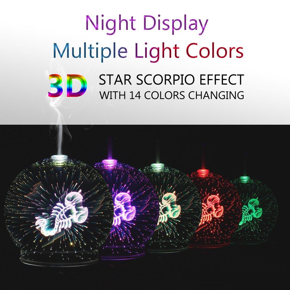 POLENNON Scorpio Oil Diffuser Cool Mist Glass Humidifier 100 ml and Night  Lights