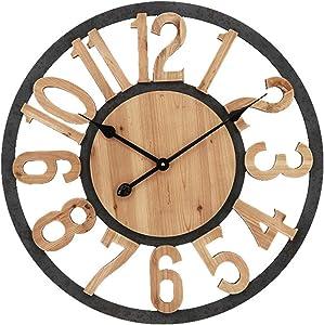 Lailuaxoa Outdoor Garden Wall Clock, 23 Inch Large Round Garden Clock Vintage Wooden Outdoor Clock Indoor Outdoor Decoration Quartz Wall Clock Outside Clock,B