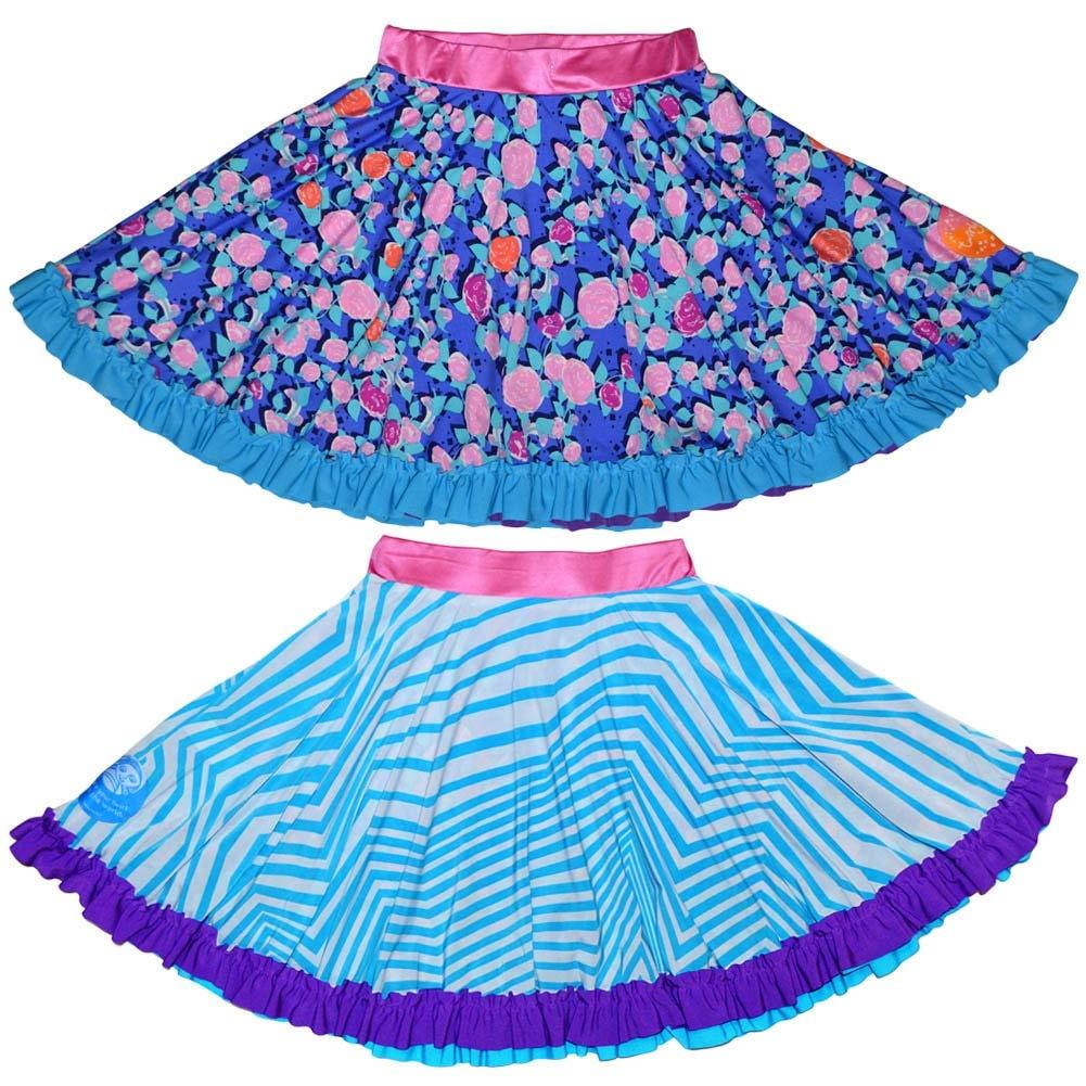 TwirlyGirl Blue Girls Skirts Reversible Purple Flowers Chevron Stripes Ruffles