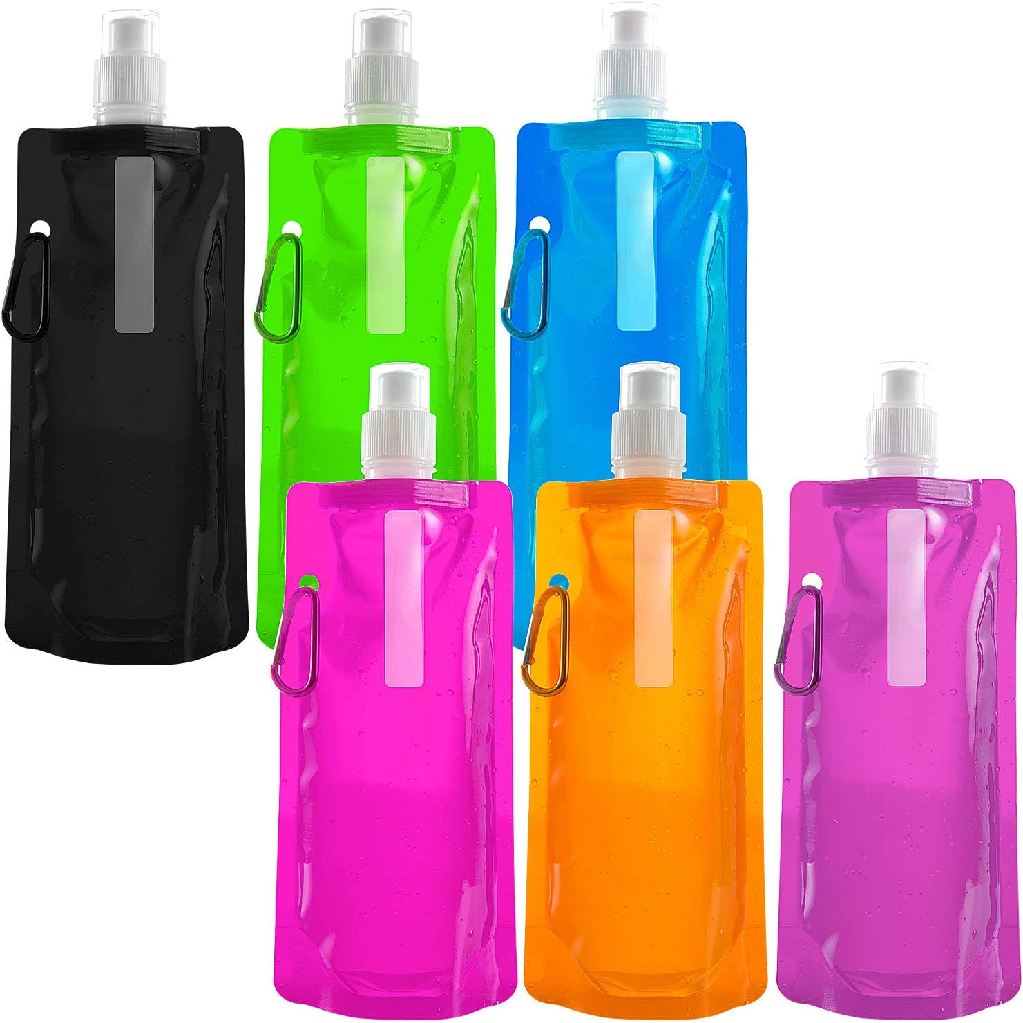 Jolintek Botella De Agua Plegable Reutilizable Bolsa de Bebida de Agua con Clip para Actividades,Senderismo, Aventuras, Viajes,Mochilero(6 Colores)