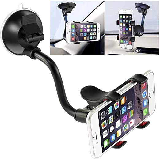Universal/ Dashboard Phone Holder with Long Arm Washable Suction Cup Car Cradle,Compatible with Phone 11 Pro Xs XS Max XR X 8 8 Plus 7 Galaxy S9 S8 S7 Note 9 10 Windshield Car Phone Mount