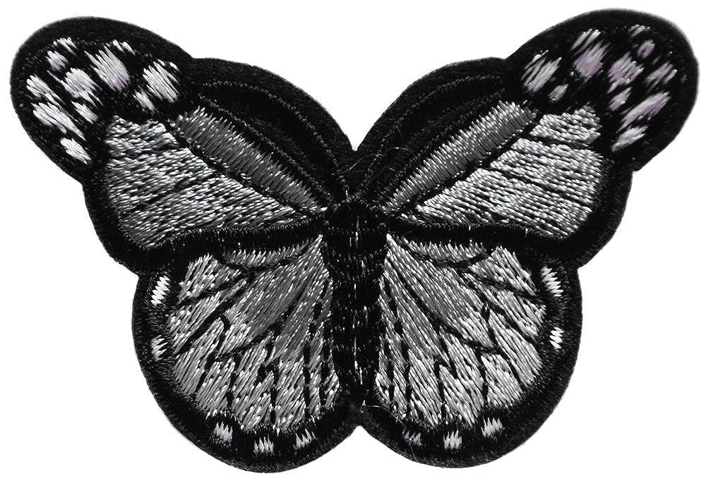 2 ecusson papillon gris noir 7x5cm patche badge jeans veste chemise blouson basket