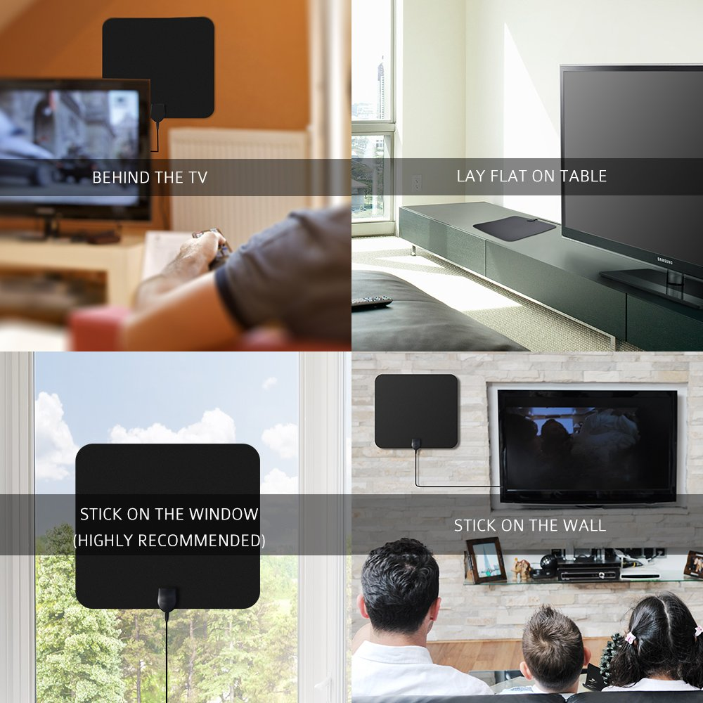 VicTsing - HDTV TV de Antena DVB-T Activa, Super Fina Digital Indoor Habitaciones Antena, con 50 dB Amplificador & 10 pies de Cable coaxial para Ultra Fina, ...