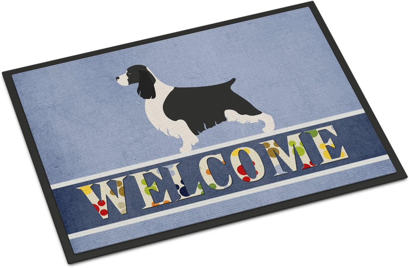 Multicolor 24Hx36W Carolines Treasures Spanish Water Dog Welcome Kitchen or Bath Mat 24x36