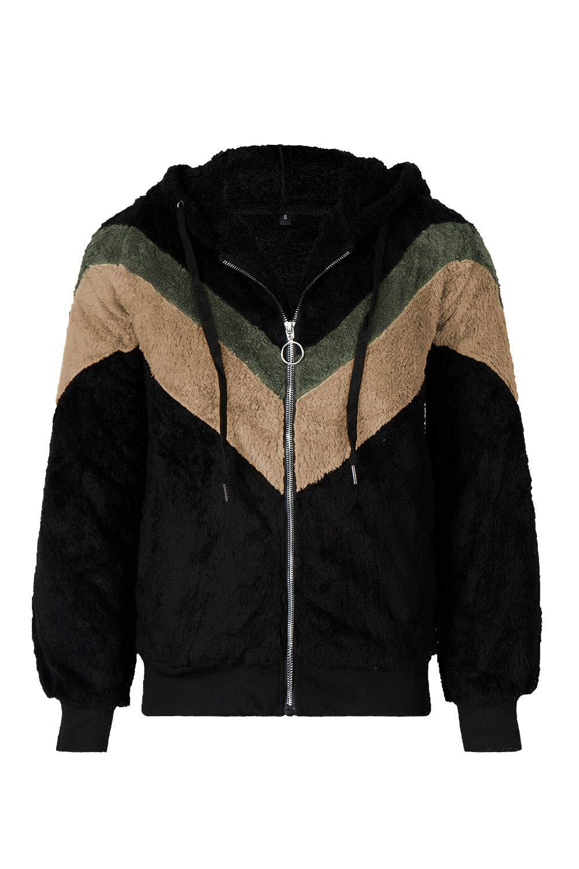 COCOLEGGINGS Women's Sherpa Full Zipper Fuzzy Fleece Hooded Coat Black S by COCOLEGGINGS