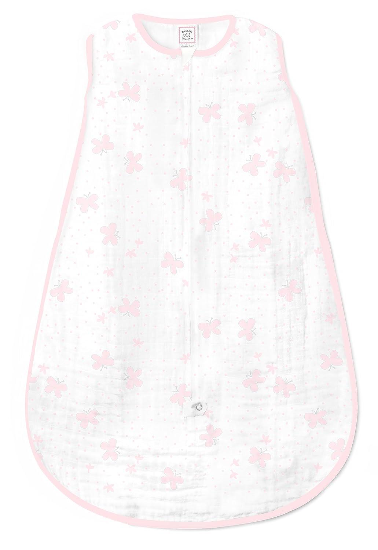 SwaddleDesigns Cotton Muslin Sleeping Sack with 2-Way Zipper, Pastel Pink Butterflies, Medium