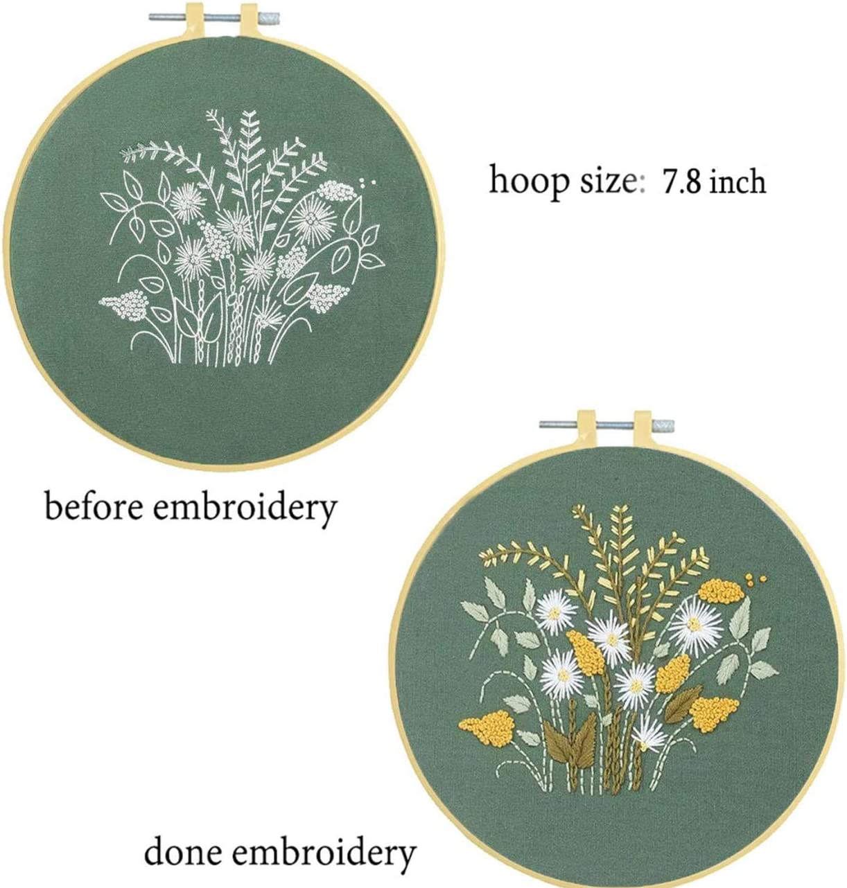 Nuberlic Embroidery Kit for Adults Beginners Cross Stitch Starter Kit with Pattern for Kids Craft Embroidery Hoops Floss Thread Needles