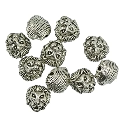 10pcs Lion Head Charms Pendants Connectors Jewelry Making Findings Crafts