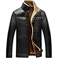 chouyatou Men's Winter Full Zipper Thick Sherpa Lined Faux Leather Jacket