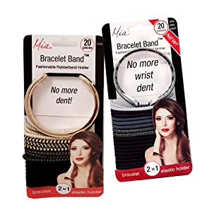 Mia Bracelet Band 2 in 1! Rubberband Holder AND Bracelet-NO MORE WRIST DENT! Contains (40 Pieces) 2 Bracelets each with 19 Mia Metal Free Mixed Elastics (38 total) 1 Gold and 1 Silver Colored Bracelet