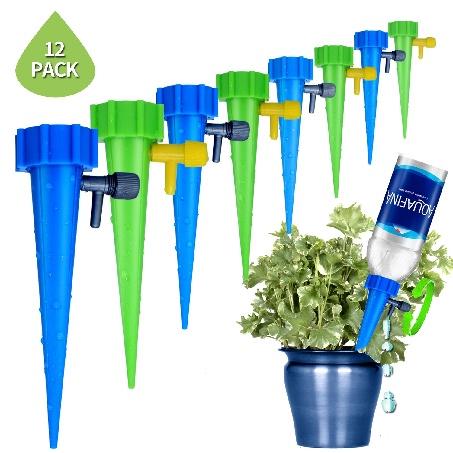 REEBENT Plant Waterer Self Watering Devices with Slow Release Control Valve Switch, Automatic Vacation self Plant Watering Spikes Globes, Self Irrigation Watering drip Bulbs System,Plant Stakes