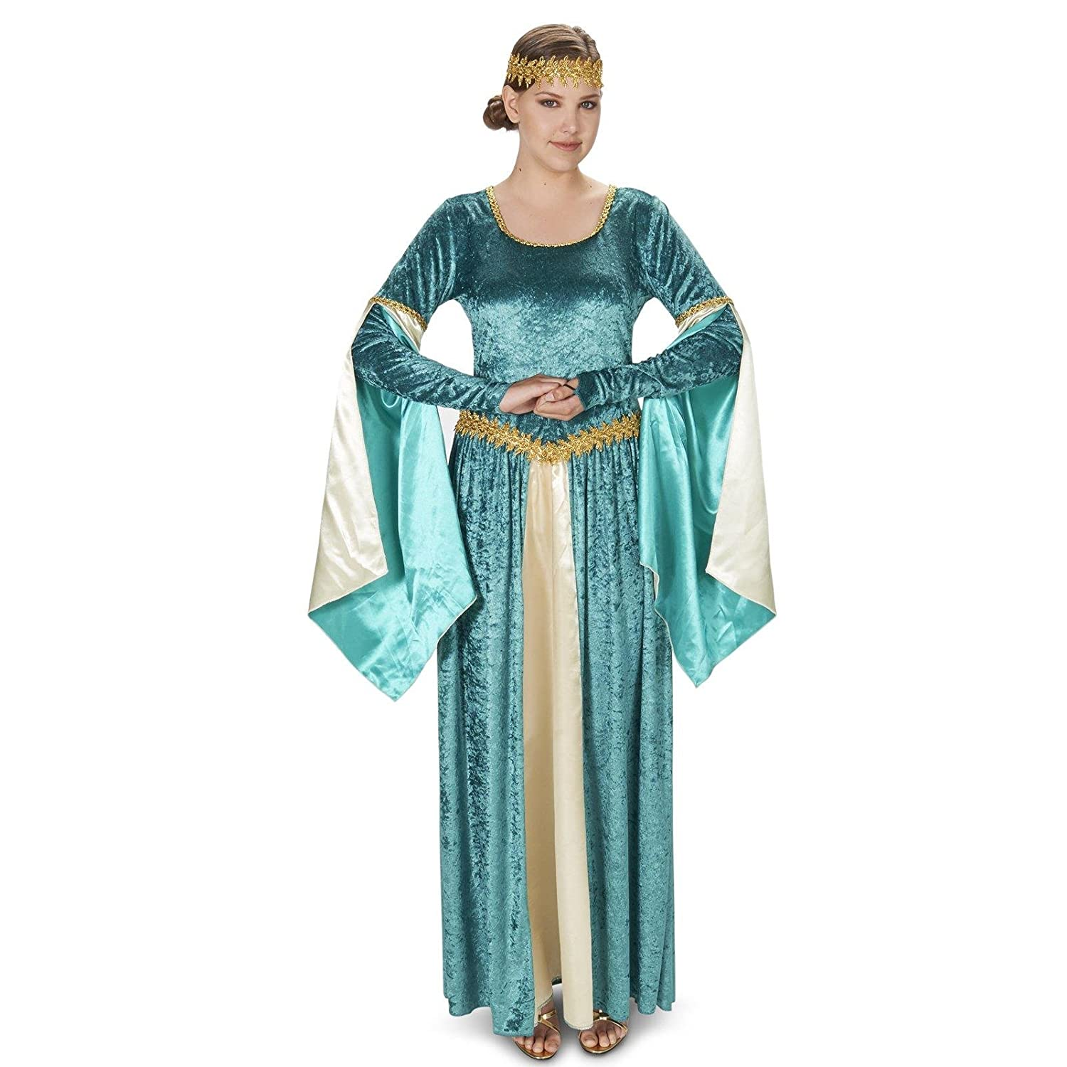 Renaissance Teal Velvet Dress Adult Costume M