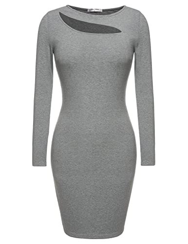 ANGVNS Women's Long Sleeve O Neck Pencil Bodycon Lace Print Zip Up Back Party Dress