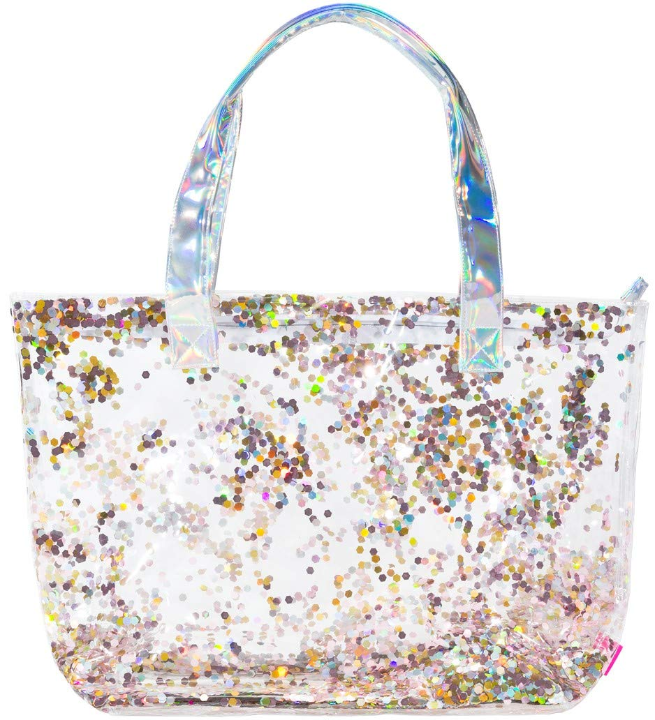 Girls Multi-Use Double Layer PVC Born to Sparkle Fashion Tote - Filled with Sparkling Confetti - Large 20'' x 14'' Size